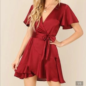 Red wrap tie front dress